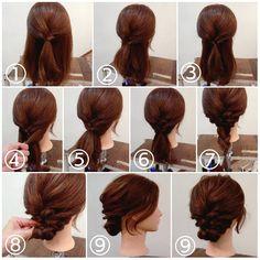 """ถูกใจ 305 คน, ความคิดเห็น 1 รายการ - nest hairsalon (@nest_hairsalon) บน Instagram: """"シニヨンアレンジ ① トップを三つ編みにして2,3回ほど編んだらゴムでまとめます。 ② 両サイドの髪を後ろで結びます。 ③ それをくるりんぱします。 ④ 残っているえりあしの髪を両側からとり… ⑤…"""""""