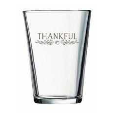 """Kate Aspen """"Thankful"""" 16 oz. Pint Glasses (Set of 4)"""