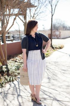 Feeling blue ... in a good way! // navy sleeveless top // chevron necklace // grey cardigan // striped midi skirt // nude wedges // nude clutch