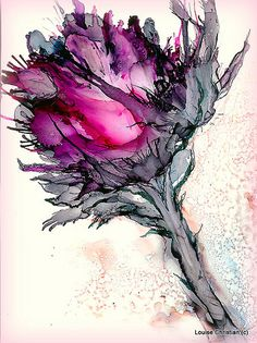 ''GRAND OPENING''.....OR ''I THOUGHT I SAW A ROSE'' EXPERIMENT ALCOHOL INK SEMI ABSTRACT...ON YUPO I also used a bit of the Elegant Writer pen and a touch of ballpoint. I used canned air..like you clean computer keys with also. DOUBLE THE FUN!!!