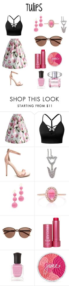 """""""Tulips!"""" by aechau ❤ liked on Polyvore featuring Chicwish, J.TOMSON, Tiffany & Co., Kenneth Jay Lane, Marlo Laz, Witchery, Fresh, Deborah Lippmann and Versace"""