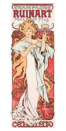 Champagne Ruinart poster by Alphonse Mucha - inspiration for illustration: ethereal, creative composition and movement, flowing hair. stylized, pushing the limits of realistic possibilities into the realm of limitless design Mucha Art Nouveau, Alphonse Mucha Art, Art Nouveau Poster, Wine Poster, Poster Poster, Poster Ideas, Jugendstil Design, Inspiration Art, Retro Poster