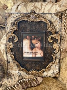 Michelle Butler Large Heirloom Frame with Scrolls in vintage cream and dark chocolate brown available at Reilly-Chance Collection Online Store & Retail Store location Tabletop Accessories, Luxury Bedding Collections, French Chateau, Luxury Home Decor, Chocolate Brown, Old World, Butler, Design Elements, Picture Frames
