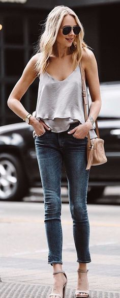jeans, blouse and heels, casual outfits, street style, clothes enough    jeans, cold shoulder white blouse and nude heels, casual outfits,