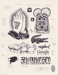 Four Eyed Fink by Mike Giant, Tattoos 3d, Tattoo Drawings, Small Tattoos, Girl Tattoos, Mike Giant, Tatuajes New School, Dessin Old School, Catrina Tattoo, Tattoo Illustration