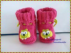 Babyschuhe gestrickt Merino pink Eule von Hexenpott auf DaWanda.com