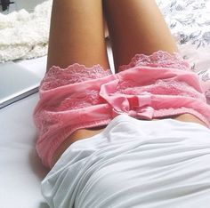 Want those cute shorts! Lace and pink!