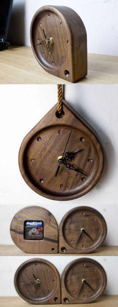 Black Walnut Wooden Desk Clock Simple Wood water drop Desk Clock Modern