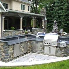 Stone Veneer Outdoor Kitchen
