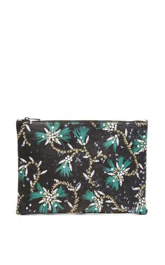 Floral-Print Leather Clutch by Mary Katrantzou Now Available on Moda Operandi