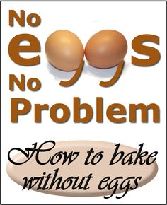 How to bake without eggs - This is good to know for those times when you are out of eggs, or have people with allergies! Eggless Desserts, Eggless Recipes, Eggless Baking, Cooking Recipes, Egg Free Recipes, Cupcake Recipes, Baking Without Eggs, Gourmet Cookies, Food Substitutions