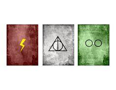 Minimalist Harry Potter Prints by LittleNerdyPrints on Etsy, $10.00