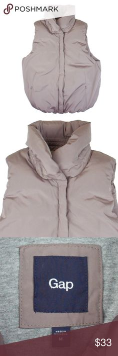"""The GAP Taupe Puffer Jacket Vest Mint condition. This taupe puffer best from The GAP is filled with a poly full for added warmth. Fully lined. Measures: Bust: 40"""", total length: 23"""" Gap Jackets & Coats Vests"""