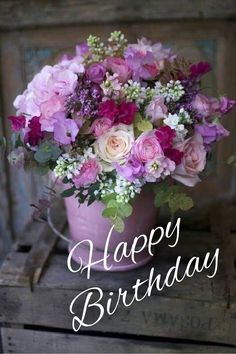 Happy Birthday Flowers Gif, Happy Birthday Bouquet, Happy Birthday Greetings Friends, Happy Birthday Wishes Photos, Happy Birthday Art, Happy Birthday Celebration, Birthday Blessings, Birthday Wishes Cards, Happy Birthday Messages