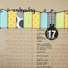 This photo-free scrapbook layout is about currents, and is a great way to highlight patterned paper