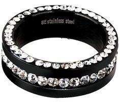 Black White Pave Swarovski Crystal Eternity Ring - Mob Candy