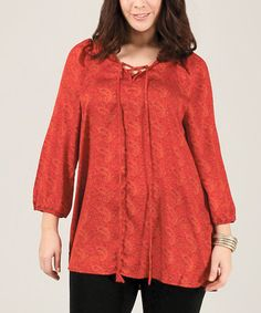 Look what I found on #zulily! Red & Orange Paisley Lace-Up Tunic - Plus #zulilyfinds