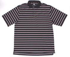 FOOTJOY XL Polo Golf Shirt Men's Short Sleeve Black Red White Striped EUC #FootJoy #PoloRugby