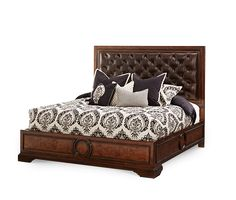 Queen Size Capri Finish Panel Brown Leather Button Tufted Headboard Bed Frame