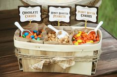 Rustic Popcorn Bar- Amazing idea for a party or scale it down for super cute movie night.