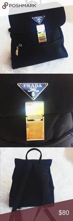 PRADA  backpack Classy prada backpack! Always a must! Clip is broken.. But will still stay closed. No rips or holes! Smoke free home❤️ Prada Bags Backpacks