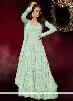 Suave Georgette Turquoise Embroidered Work Anarkali Salwar Kameez Model: YOS8007