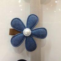 Denim flower hair clip R30