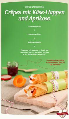 """Lass Dich von den Rezept- und Genuss-Tipps aus dem Géramont Glückskäse verführen! Wir lieben ja die Kombi von Käse und fruchtig-süßem. Hier z.B. in der Variante """"Crêpes mit Le Snack Aprikose"""". #cestbon"""