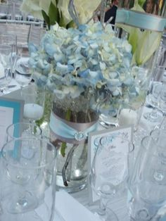 Flowers,centerpiece,hydragenas and blue