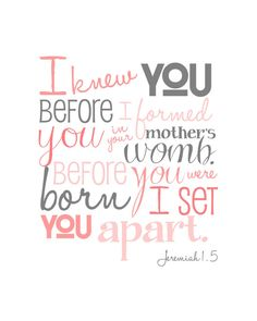 I Knew You Before I Formed You - Jeremiah 1.5 - DIGITAL FILE - Coral and Gray - Bible Verse Wall Art