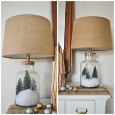 Rustic Christmas entryway - Christmas tree snow globe lamps. lizmarieblog.com
