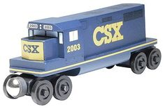 Wooden Toy Train- Diesel Engine -- CSX