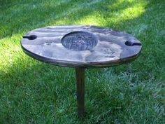 Portable Outdoor Wine Table And Glass by WoodinYouDineDivine, $30.00