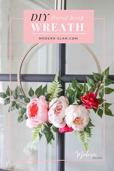 DIY Spring Floral Embroidery Hoop Wreath. Peonies. Peony Wreath. Front Door Decor. An Easy DIY Project