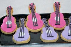 Pink and Purple Decorated Guitar Cookies