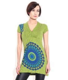 And Green  Printed V Neck Tops