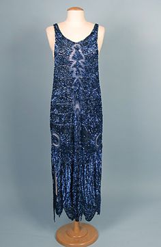 Electric Blue Sequin Evening Gown, 1920s Session 2 - Lot 876 - $920