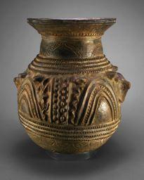 Africa | Shrine vessel.  Yoruba culture ~ Ekiti, Nigeria | Early/mid-20th century | Terracotta