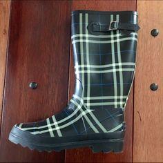 London Fog Plaid Rain Boots.