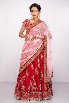 Rent ABHILASHA - Red And Pink Embroidered lehenga Set Red Saree, Half Saree, Wedding Looks, Asian Fashion, Red And Pink, Lehenga, 5 Image, Saris, Bridal