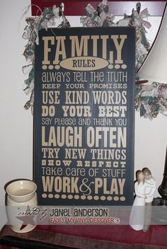 Items similar to Family Rules board -DIY Kit on Etsy Vinyl Signs, Wooden Signs, Family Rules Sign, Sign Fonts, Vinyl Projects, Sewing Projects, Do It Yourself Crafts, Silhouette Cameo Projects, Halloween Signs