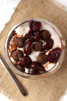 Cherry Brownie Blizzard - a healthy vegan blizzard!