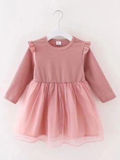 Toddler Girls Contrast Mesh Ruffle Smock Dress – Kidenhouse Toddler Girl Dresses, Girls Dresses, Smock Dress, Smocking, Girl Fashion, Contrast, Shorts, Cotton, Clothes