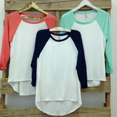 Baseball Tees! So comfy!! I could wear them all day everyday!
