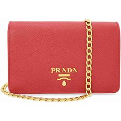 Prada Lux Saffiano Leather Crossbody Wallet - Fuoco ($1,430) ❤ liked on Polyvore featuring bags, wallets, snap closure wallet, prada, flap crossbody, red crossbody and saffiano leather wallet