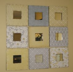 """2 dollar wooden mirrors from IKEA, scrapbook paper and a brown ink pad for """"distressing""""."""