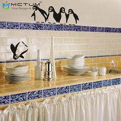 Wholesale Vinyl Save the Penguin Fridge Kitchen Wall Stickers Decals Wallpaper For Refrigerator Kitchen Bathroom Decoration