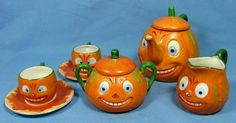 Vintage Halloween Collectible ~ Jack O' Lantern Pumpkin Tea Set * Made in Germany