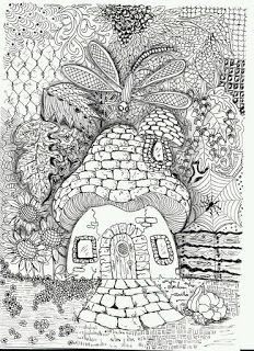 Efie goes Zentangle: mushroom house