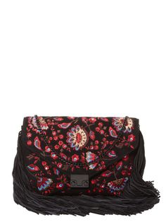 Signature Embroidered Suede Lock Clutch by Loeffler Randall at Gilt